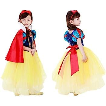 c59ecc8a422b2 (eones)白雪姫風 プリンセスドレススカート 5層構造 ふんわり キッズドレス マント、カチューシャステッキ 4点セット(130cm)