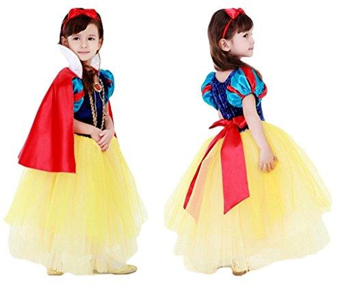 (eones)白雪姫風 プリンセスドレス 子供用 スカートふんわり 5層構造 マント、カチューシャ、ステッキ 4点...