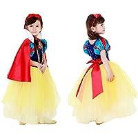 (eones)白雪姫風 プリンセスドレス 子供用 スカートふんわり 5層構造 マント、カチューシャ、ステッキ 4点セット(110cm)