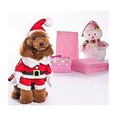 Jeerui 犬猫用 小/中/大型犬 クリスマス 服 可愛い サンタクロース なりきりウェア ドッグウェア コスチューム コスプレ 変身 ハロウィン 帽子付き (L)