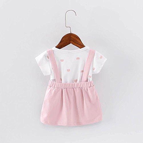 女の子の服 夏 ワンピース Pojour 1-6歳キッズ用 子供かわいいカジュアルドレス 偽セット 綿 通気 ピンク(90cm)