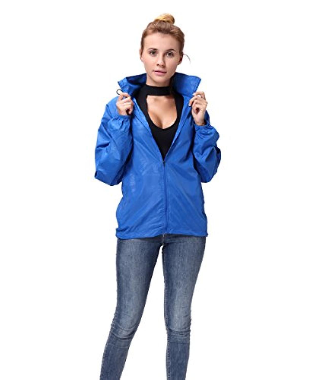 FUTユニセックス軽量ウィンドブレーカージャケット防水レインコートフード付き雨クイックドライUV保護アウトドアスポーツパッケージスキンコート