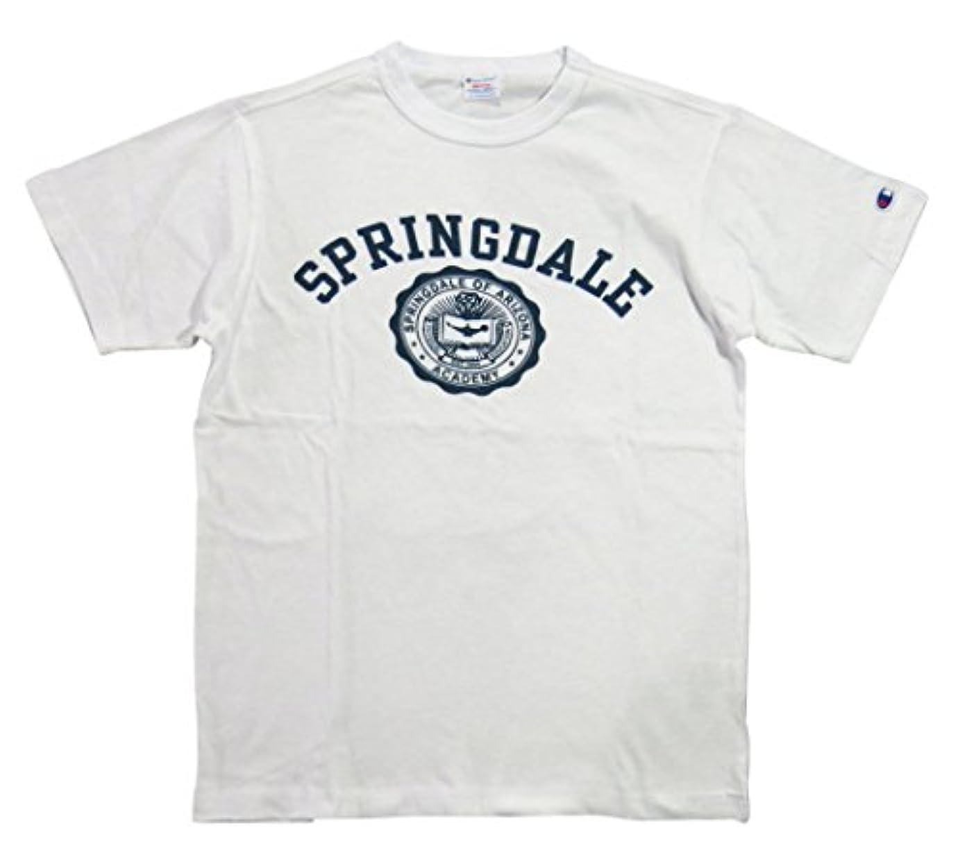 不道徳モート公園(チャンピオン)Champion トリコロールタグ カレッジプリント 半袖 Tシャツ