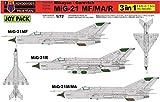 KPモデル 1/72 ジョイパック MiG-21MF/MA/R 3キット入り デカールなし プラモデル KPM0105