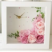 プリザーブドフラワー 時計 ピンク