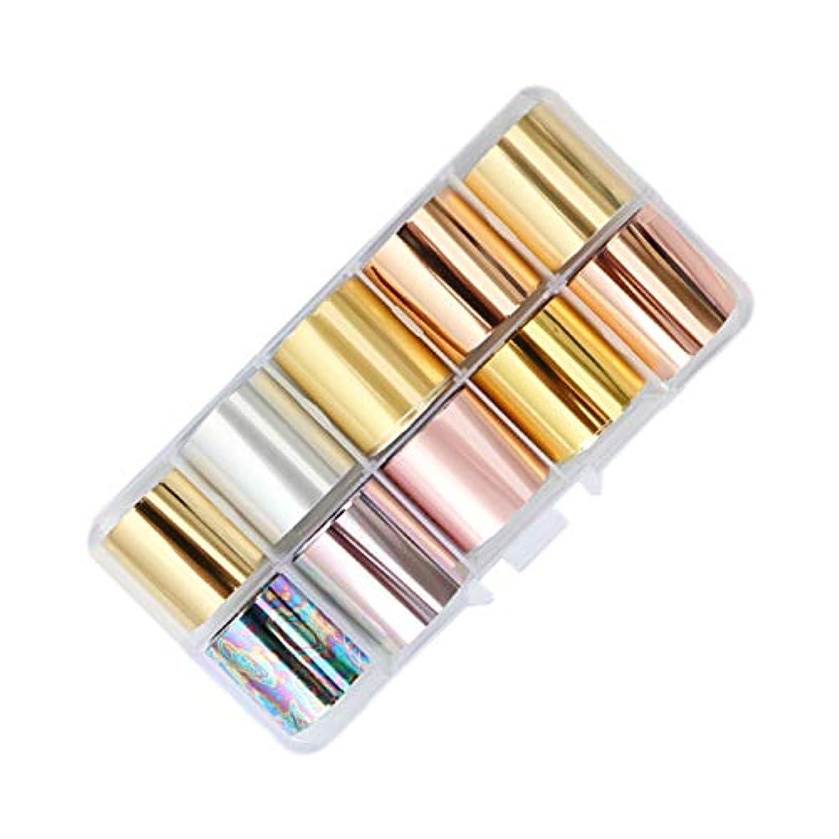 シミュレートする真鍮またはどちらかLALONA ネイルホイル (ミラー&マット系10個セット) ジェルネイル ネイルアート ホログラム 金箔