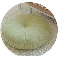 リネン布団クッションは、ラウンドファブリック床瞑想和風バルコニー窓の畳のクッション,ライトグリーンは取り外しできません,直径70cm、厚さ15cm