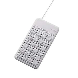 エレコム テンキーボード 有線 Mサイズ メンブレン 高耐久 USBハブ付 ホットキー付 ホワイト TK-TCM015WH