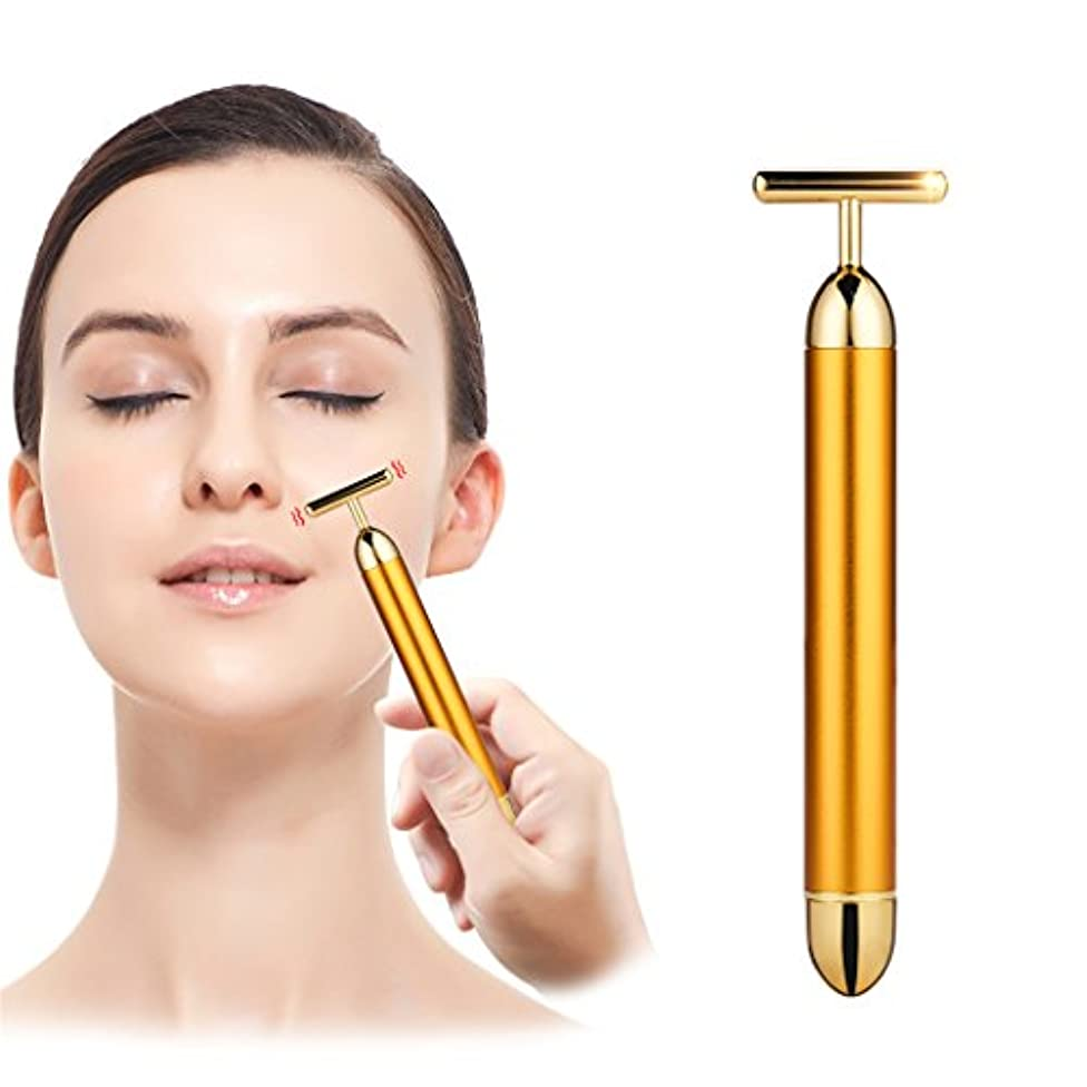 ヨーロッパいつか頭痛(inkint)電動美顔器 24K ビューティーバー エネルギービューティー フェイスローラー ミニ顔マッサージ 防水 ゴールド
