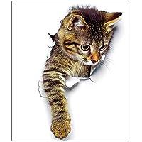 Hillrong ウォールステッカー シール式 装飾 バスルーム 窓 DIY パーティー イベント アニマル柄 動物写真 かわいい 面白い 3D 猫 オシャレな壁紙シール