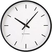 KATOMOKU plywood wall clock ブラック 電波時計 連続秒針 km-49BRC φ304mm