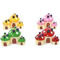 yedream 12pcsミニチュア妖精Garden Mushroom HouseドールハウスオーナメントMini Landscapeアウトドアインテリアホーム装飾4colors