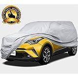 カーカバー SUV ボディーカバー 車カバー ワゴン車 JEEP 自動車 裏起毛 4層構造 防水防塵防輻射紫外線 黄砂 PM2.5 対策 (482*190*152CM - SUV, シルバー)