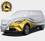 カーカバー SUV ボディーカバー 車カバー ワゴン車 JEEP 自動車 裏起毛 4層構造 防水防塵防輻射紫外線 黄砂 PM2.5 対策 (482*190*152CM - SUV, シルバー) AKAYI QX-CC02