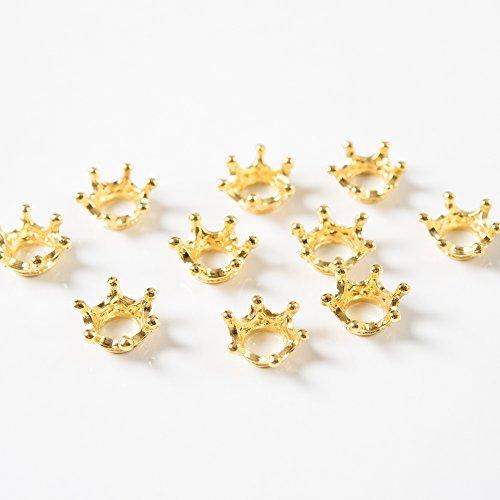 王冠リング型チャーム ゴールド 10個 レジン ブレスレット...