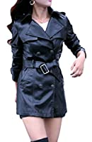 Nicellyer Women's Mid-long Silhouette Solid Lace-up Dust Coat Jacket Black S