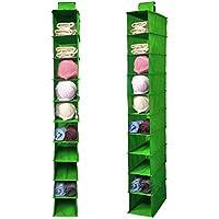 FakeFace 衣類 小物 整理ラック ハンガーラック 折り畳める クローゼット 吊り下げ収納 不織布 10段 収納ボックス グリーン