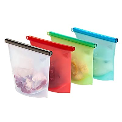 Reusable Silicone Food Storage Bag Set of 4 – 1000ml capacity – Replace single use ziplock bags. Zip Seal Bags Keep Your Food Fresh. For Cooking, Sous Vide, Lunch, Snack, Sandwich, Freezer. - by Slider-Bagz