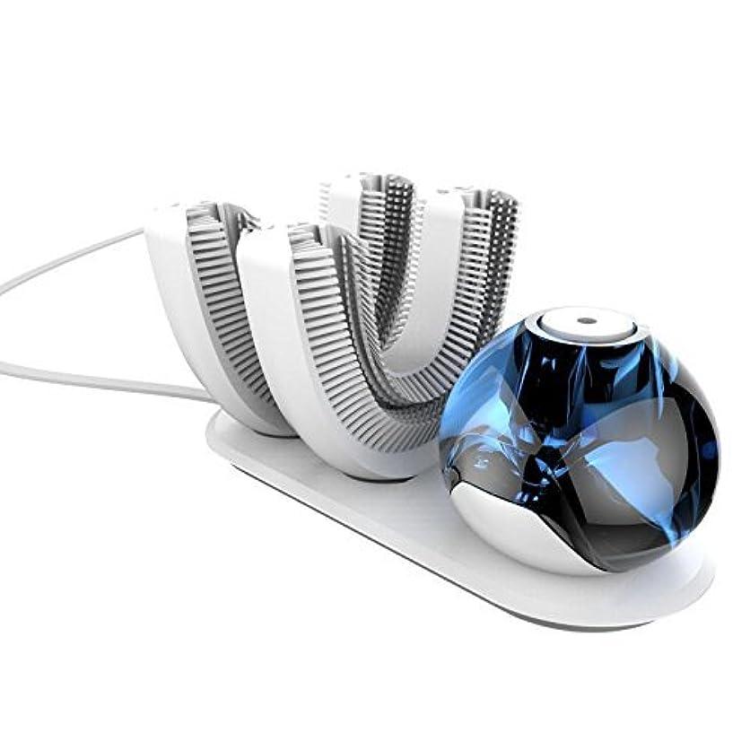 送金船外統治する怠け者牙刷-電動 U型 超音波 専門370°全方位 自動歯ブラシ ワイヤレス充電 成人 怠け者 ユニークなU字型のマウスピース わずか10秒で歯磨き 自動バブル 2本の歯ブラシヘッド付き あなたの手を解放 磁気吸引接続...