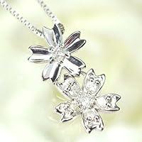[キュートジュエリー]Cute jewerly ダイヤモンド ペンダント ネックレス K18WG ダイヤモンド0.1ct ダブルサクラペンダント
