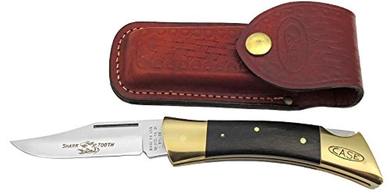 オペレーター現在指定CASE (ケースナイフ) 250 シャークツース ハンドル:12.5cm、ウッド。皮シース付