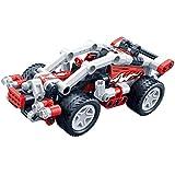 ビルディングブロック引き戻し車のパズル組み立てるメカニカルギアシリーズレーシングアセンブリおもちゃの男の子の車 (色 : F f)