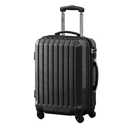 FIELDOOR スーツケース TSAロック搭載 機内持込可 軽量 アルミフレーム 鏡面ヘアライン仕上げ ・約55x39.5x27cm・3.2kg・3741リットル ブラック S