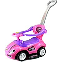 Deluxe Mega 3 in 1 Car Children's Toy Stroller & Walker Combo w/ Working Horn, Underseat Storage (Pink) by Velocity Toys