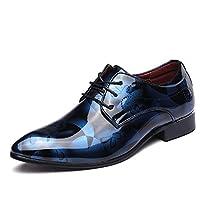 [NEOKER] ビジネスシューズ メンズ 個性的 花柄 エナメル 革靴 軽量 通勤 レースアップ 柔らかい 花柄 迷彩 内羽根 ストレートチップ 紳士靴 オフィス 紳士靴 大きいサイズ 就職 結婚式 冠婚葬祭 ブルー 30.0CM