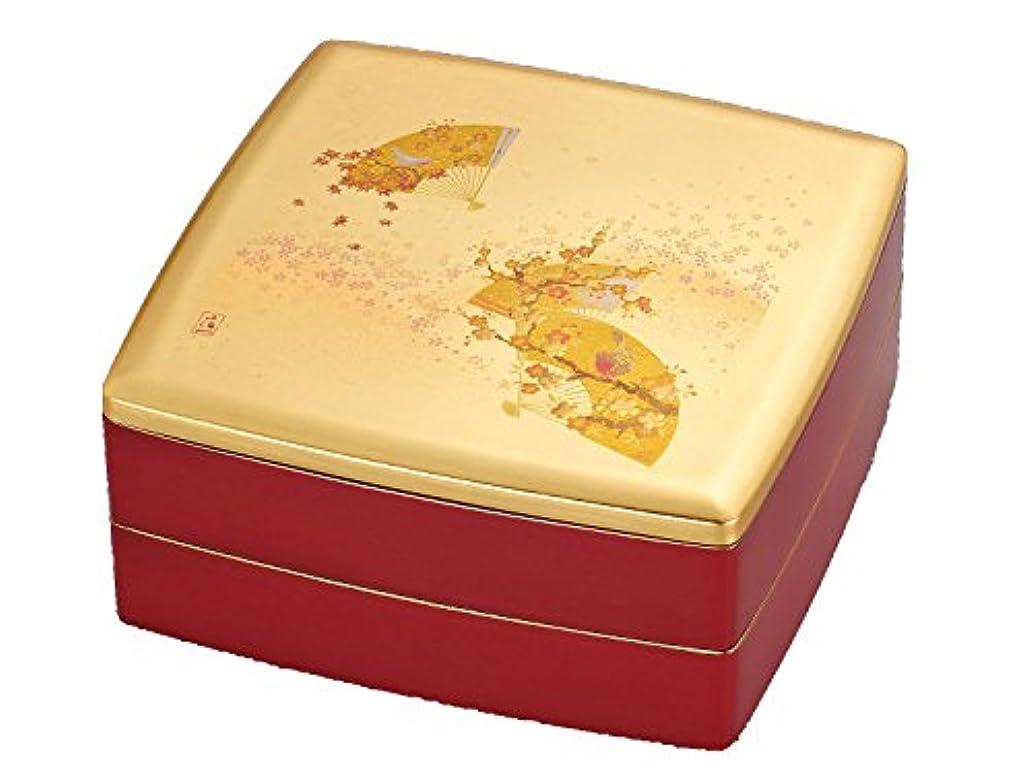 グラフなめる監査箔一 重箱 ゴールド 240×240×105mm うららか 胴張オードブル重 A151-08002
