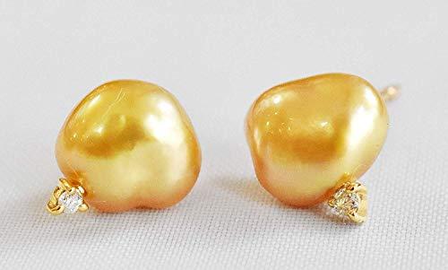ケシパール K18 ダイヤモンド ピアス 南洋ケシ 真珠 7.7mm ゴールド 6月誕生石 スタッドピアス レディース 宝石保証書付き