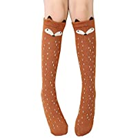 Girls Knee High Sock,Cotton Catroon Animal Bear Cat Fox Over Calf Stockings