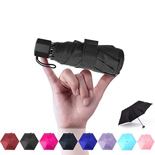 超軽量(190g) 折りたたみ傘 日傘 100%完全遮光遮熱 UVカット率99% 折りたたみ傘 UV加工塗装 超耐風撥水 晴雨両用 ミニ傘 携帯しやすい 男女兼用 プレゼントオススメ (ブラック)