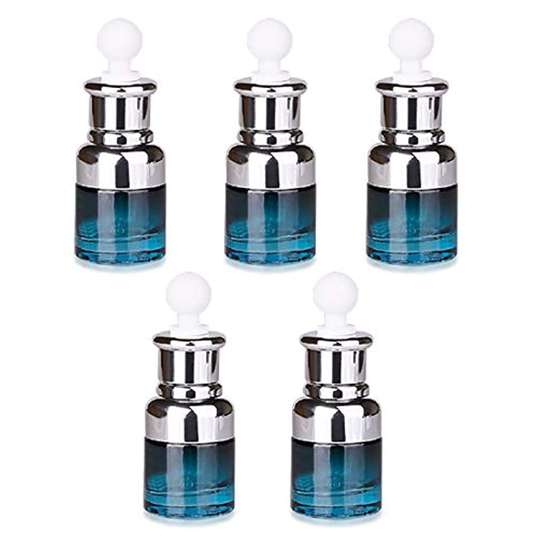 フェリモア スポイト付遮光瓶 ブルーボトル ガラス製 香水 化粧水 アロマオイル 小分け 20ml (5個セット)