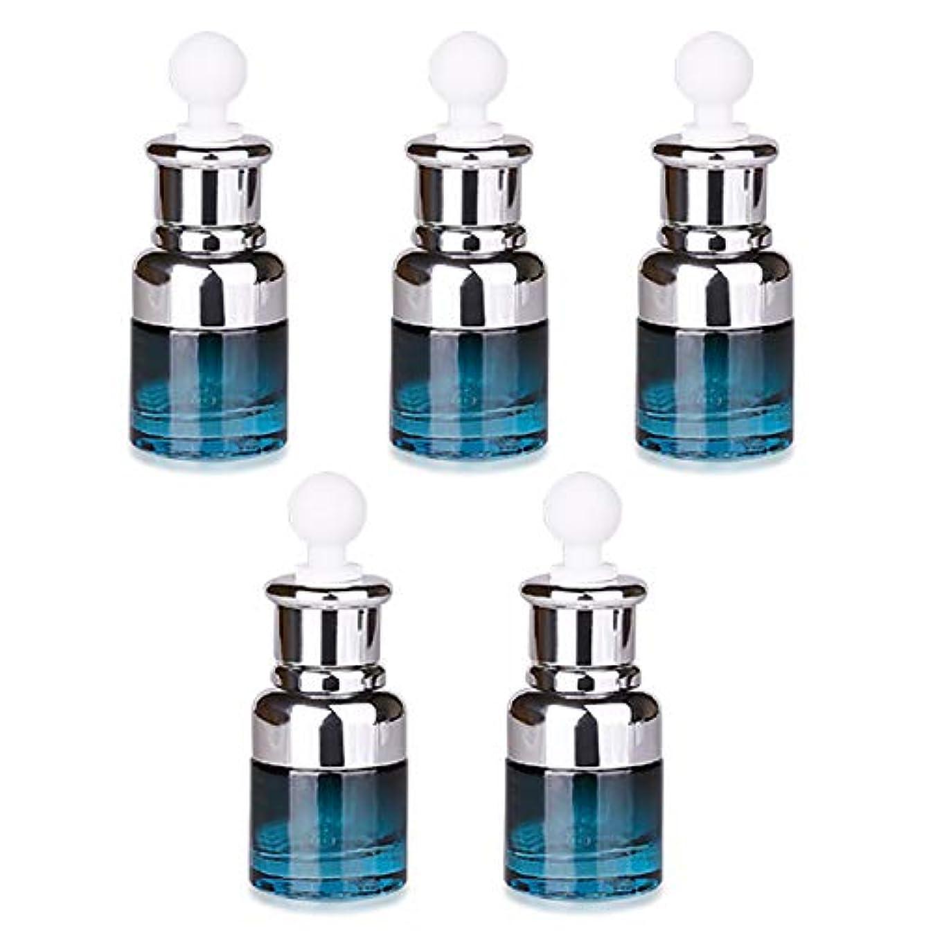 石膏尋ねる交換可能フェリモア スポイト付遮光瓶 ブルーボトル ガラス製 香水 化粧水 アロマオイル 小分け 20ml (5個セット)