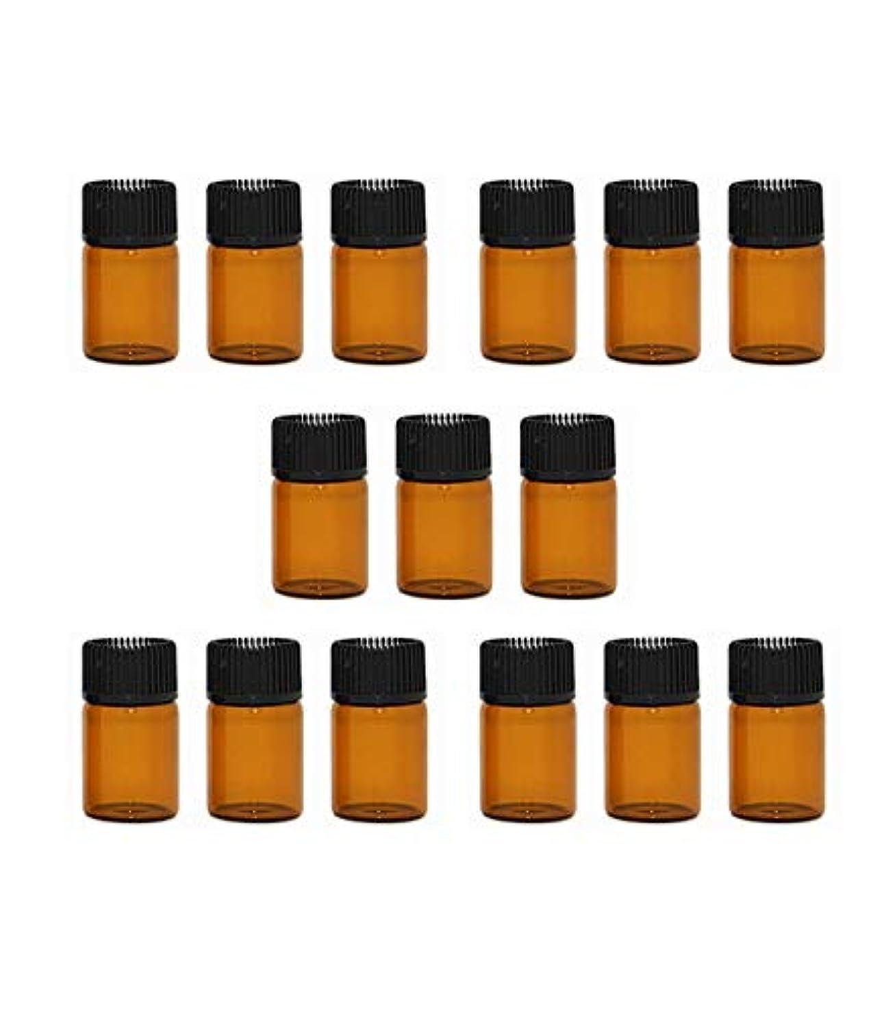 世界記録のギネスブック露骨な実験精油 小分け用 ボトル オイル 用 茶色 瓶 アロマオイル 遮光瓶 エッセンシャルオイル 保存瓶 2ml 15本セット