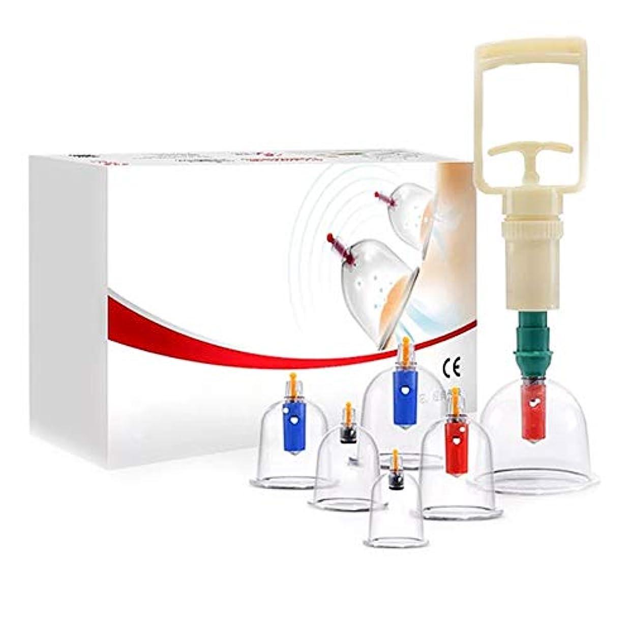 オーナメント信じるより6カップカッピングセットプラスチック、真空吸引生体磁気中国ツボ療法、ポンプ付き医療、ボディマッサージ痛み緩和理学療法排泄毒素