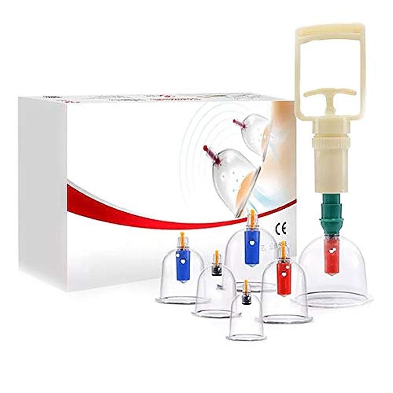 ステップ精神的に侵入6カップカッピングセットプラスチック、真空吸引生体磁気中国ツボ療法、ポンプ付き医療、ボディマッサージ痛み緩和理学療法排泄毒素