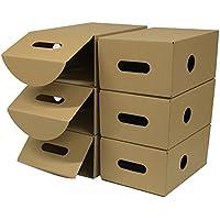 どこでもスッキリ 靴 収納 ボックス 6個セット 簡単 前から取り出し ゆったりサイズ (クラフト)