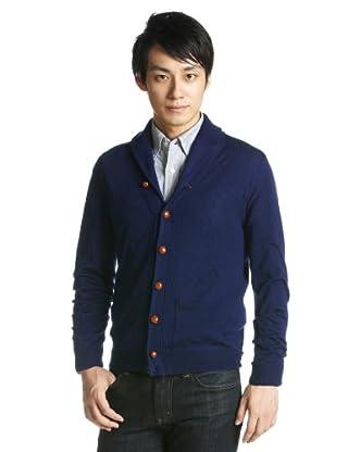 12-gauge Wool Shawl Collar Cardigan Sweater 1228-117-0147: Cobalt