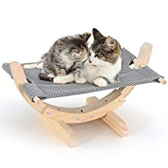 Tribesigns 猫ハンモック ベッド キャットハンモック 木製 ペットハンモックベッド 自立式 冬夏両用 ネコベッド 2psマット付き 猫用品 ペットベッド 丸洗い 耐荷重6.5kg 窓 室内 戸外