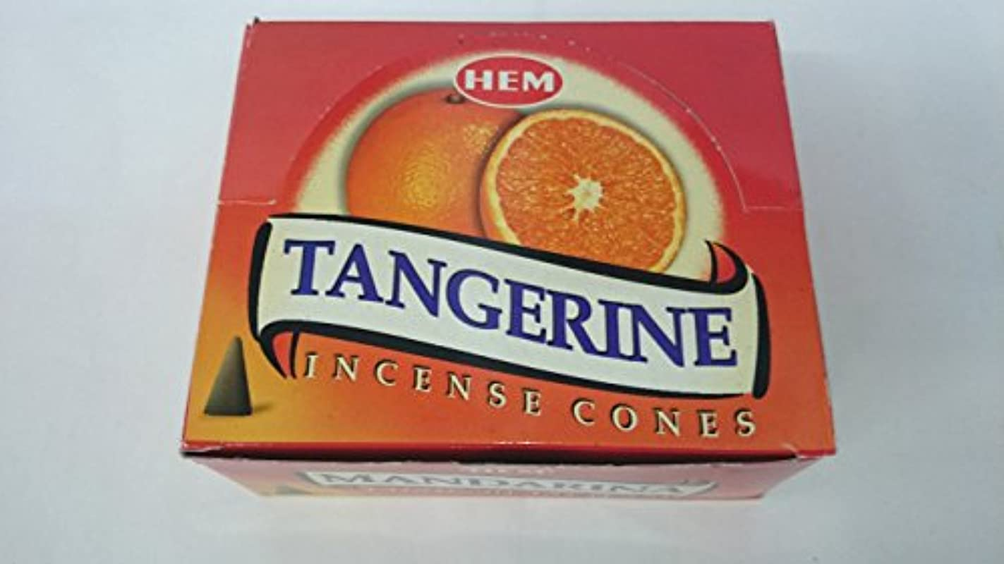 爆発物肌寒い樹木HEM(ヘム)お香 タンジェリン(マンダリン オレンジ) コーンタイプ 1ケース(10粒入り1箱×12箱)