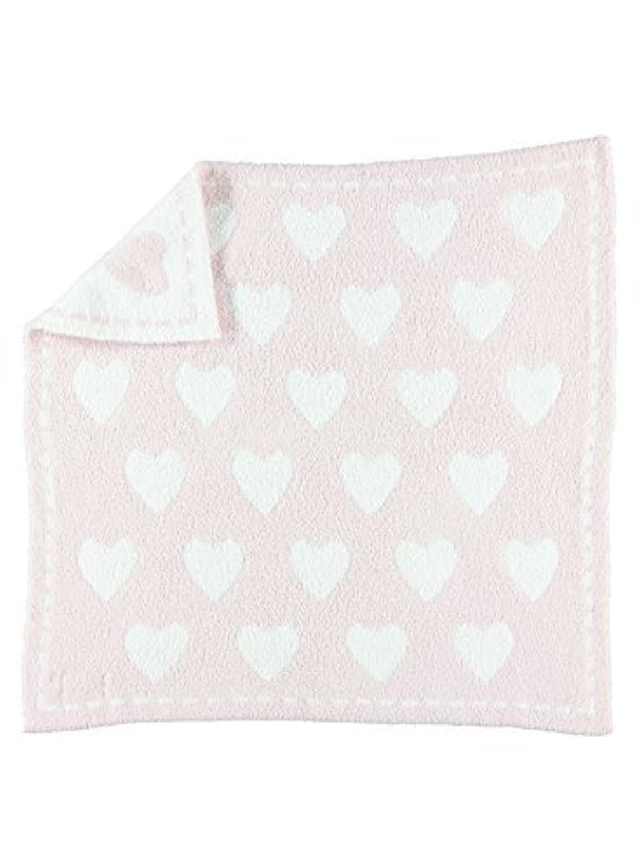 Barefoot Dreams 531 CozyChic Dream Receiving Blanket (Pink/White Hearts) [並行輸入品]