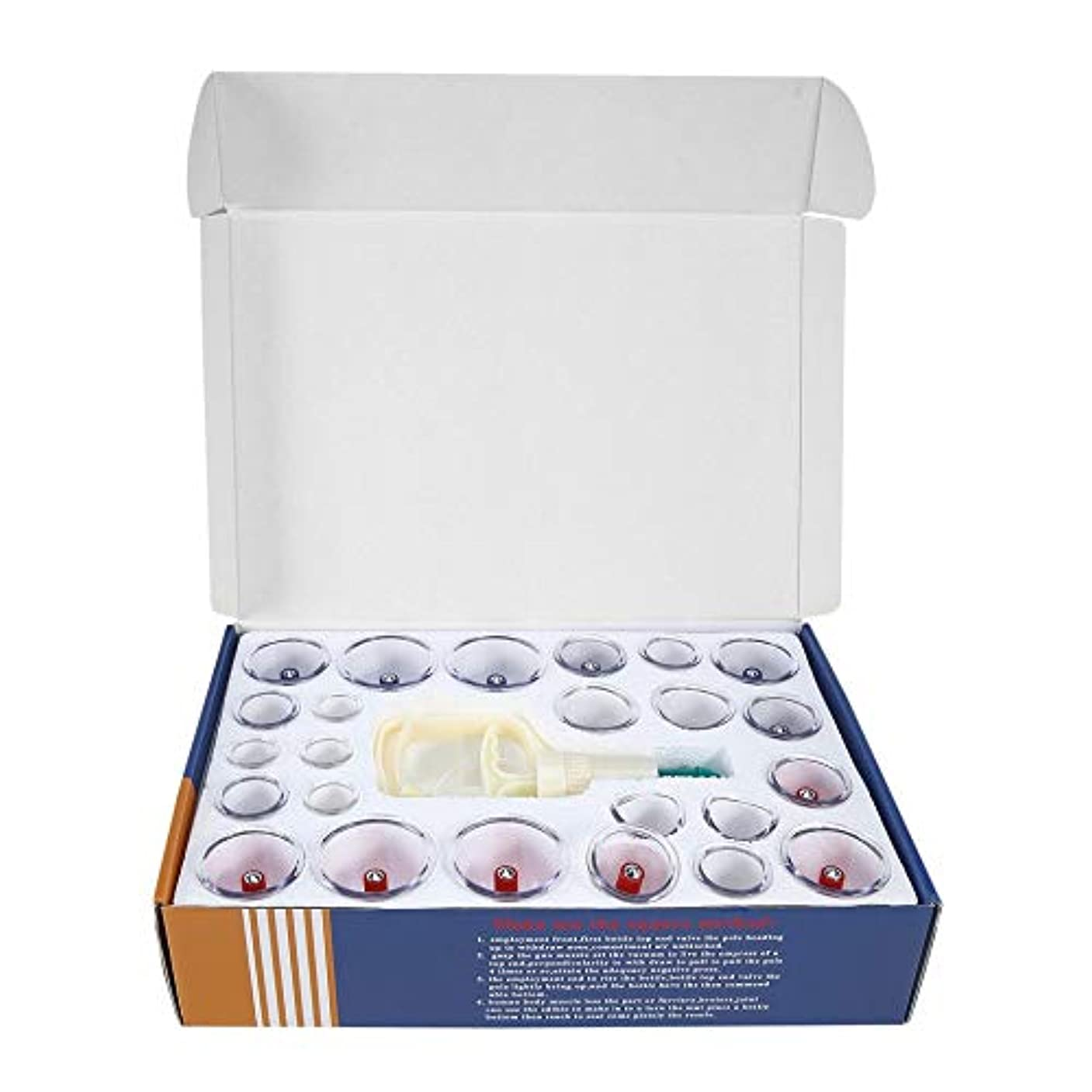 通貨聖歌寄付する中国のヘルスケア医療真空ボディカッピングセット24ピースマッサージ缶カップバイオマグネティックマッサージ療法ボディリラクゼーションキット(Color:clear)