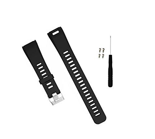 Xberstar Garmin vivosmart HR バンド 交換用ベルト スポーツバンド シリコン製 工具付 2サイズ 8色 (Sサイズ ブラック)