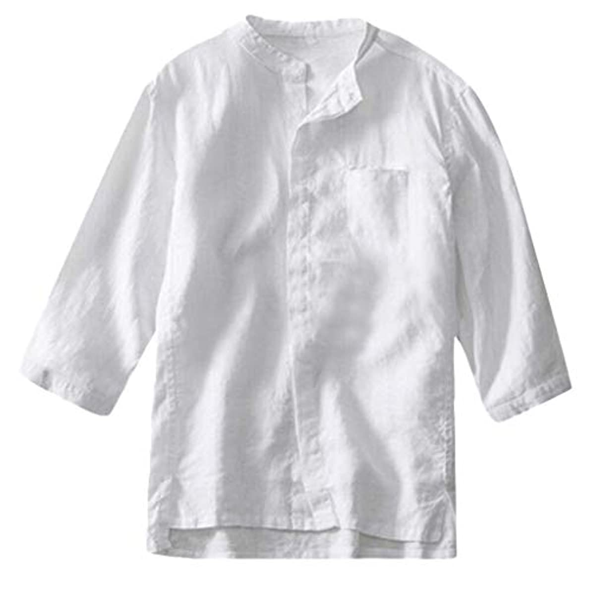 織るレイアウト受けるメンズ夏のソリッドカラーのカジュアルシャツメンズコットンリネン半袖ファッションボタンシャツソリッドカラーのシャツTシャツメンズソリッドカラーのボタンシャツ緩い通気性の快適な綿の半袖Tシャツと通常のソリッドカラー半袖Tシャツ