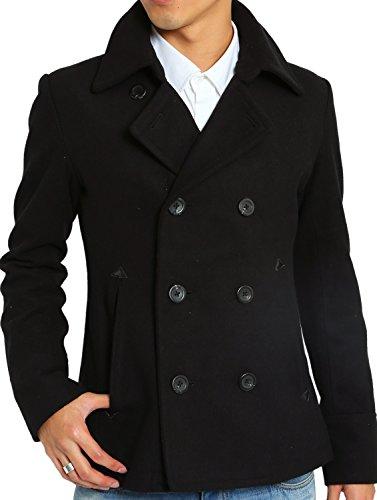 インプローブス Pコート メルトン ウール ショート コート メンズ ピーコート ブラック Mサイズ