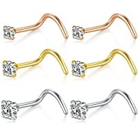 Briana Williams Nose Rings 20G Nose Screw Studs 316 Surgical Steel Nose Piercings Jewelry 1.5mm 2mm 2.5mm Clear Round Cubic Zirconia Inlaid