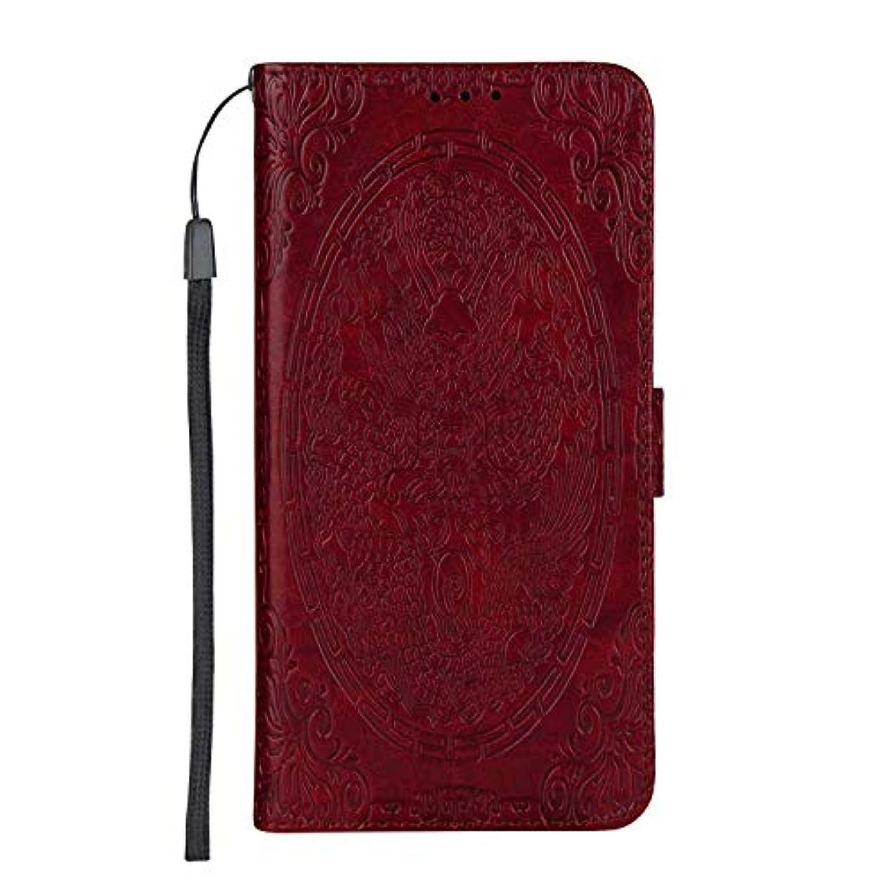 下線賞境界CUSKING Galaxy J4 2018 ケース手帳型 [ドラゴン柄] 多機能 手帳ケース カード収納 スタンド 機能 人気 全面保護カバー サムスン ギャラクシ ケース –赤
