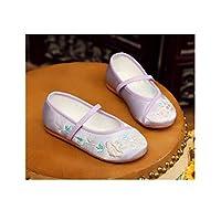 [HSWJ] 子供の布靴、女子刺繍の靴、中国の衣料品、古代の衣装、国民の風、赤ちゃんの王女の靴、学生のダンスパフォーマンス (Color : Purple, Size : XL)
